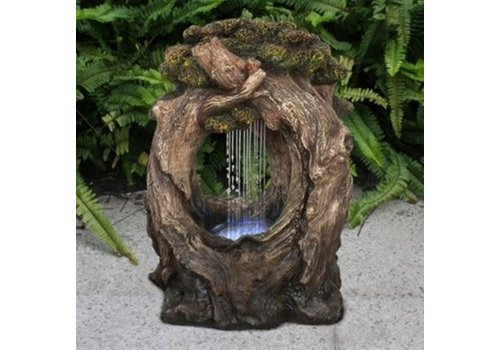 Tree Trunk With Rainfall LED Fountain
