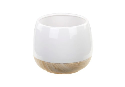 Planter With Wood Grain Base