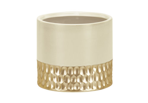 """White and Gold Planter 4.25""""x4.5"""""""