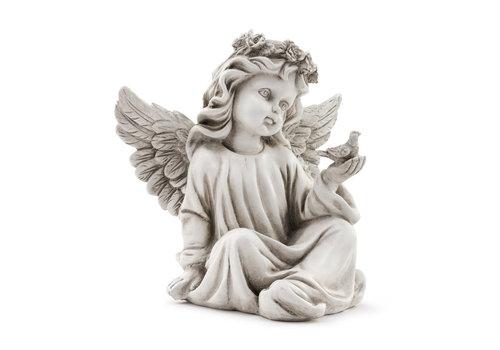 "Sitting Angel with Bird 9.25"""