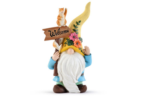 """Flower Gnome with Squirrel 9.75"""""""