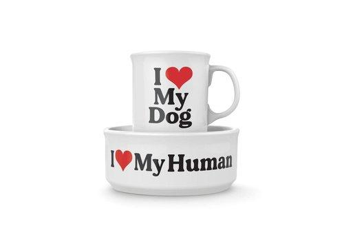 Howligans Heart Dog Mug and Dog Bowl