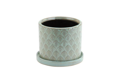 """Ceramic Pot With Saucer Green Feather 4.5"""""""