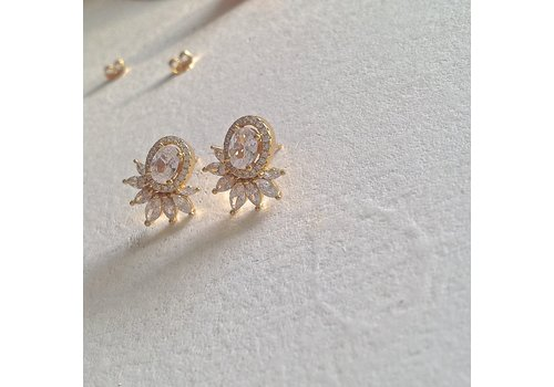 Pika & Bear Windsor Vermeil Rhinestone Baroque Stud Earrings