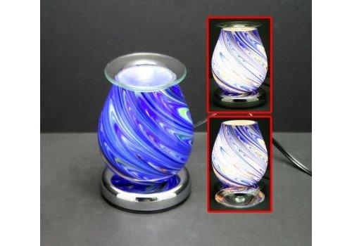 Blue Melting Art Eggshell Touch Sensor Glass Lamp Wax Holder