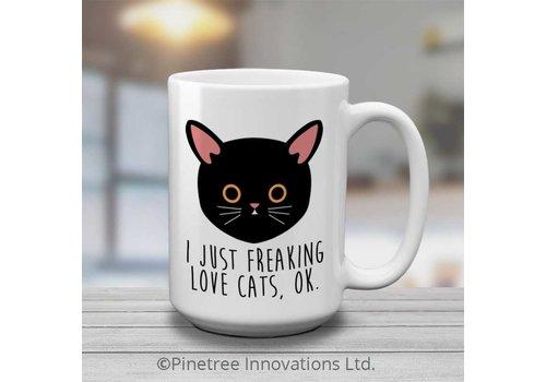 Coffee Mug I Freaking Love Cats 15oz