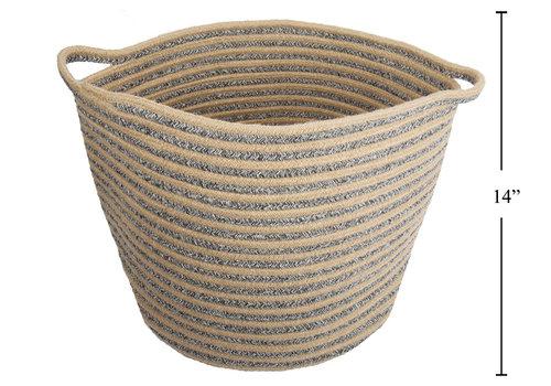 "Cotton/Jute Rope Round Basket 16""x14"""