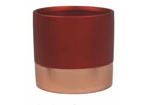 "Metallic Red and Rose Gold Pot 4.75""x4.25"""