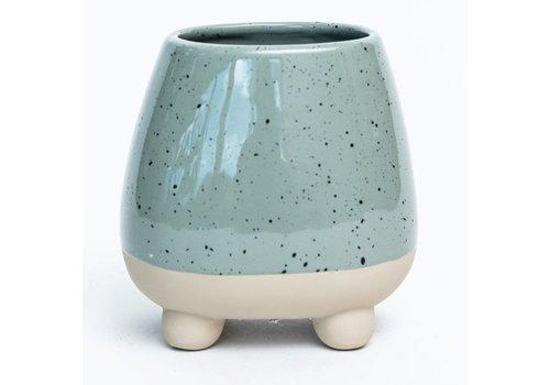 """Footed Speckled Sage Glaze Dolomite Pot 5""""x5"""""""
