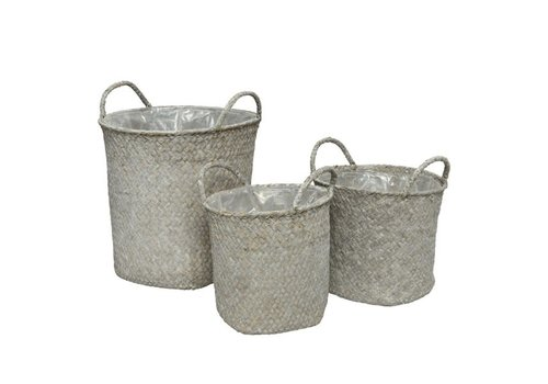 Seagrass Basket Round White