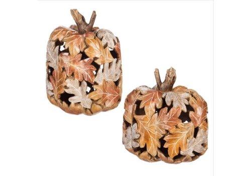 Polystone Carved Pumpkin Decor