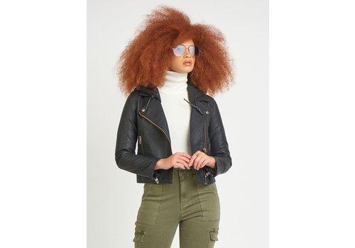 Dex Faux Leather Hoodie Moto Jacket