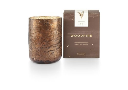Illume Woodfire Luxe Sanded Mercury Glass Candle Small