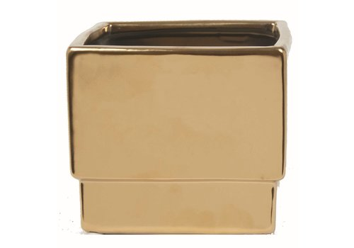 "Square Ceramic Pot Matte Gold 5x5x4.5"""