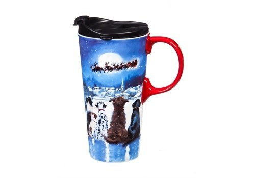 Christmas Dogs Ceramic Travel Cup 17oz
