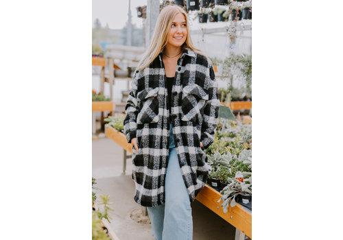 RD Style Tina Mid Length Box Shaped Plaid Coat