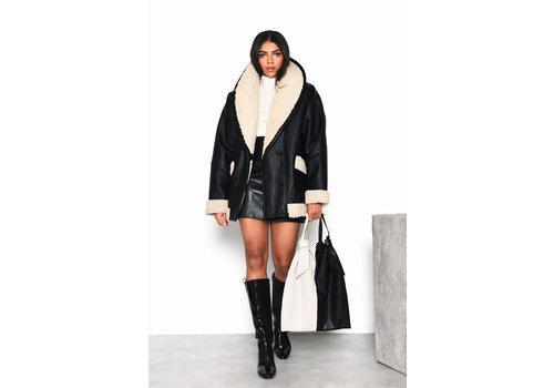 Glamorous PU Coat With Sherpa