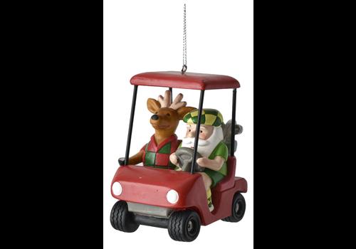 Santa Reindeer Golf Cart Ornament