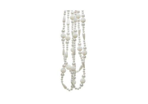 Shiny Beaded Garland Wool White