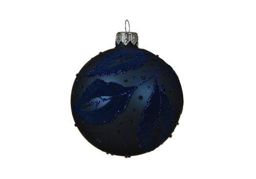 Flock Leaf Glass Bauble Night Blue