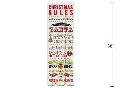 Christmas Rules Wood Plank 12''x36''
