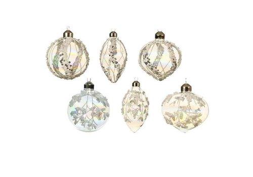 Glitter Beaded Glass Ornament Iris