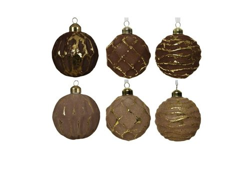 Flock Glass Bauble Brown Assorted