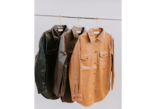 RD Style Faux Leather Button Up Blouse