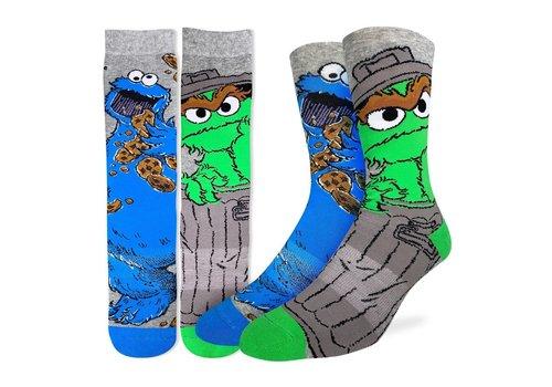 Good Luck Sock Men's Oscar and Cookie Monster Socks