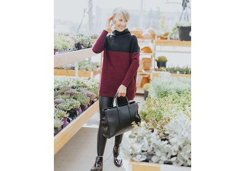 RD Style Color Block Mock Neck Sweater