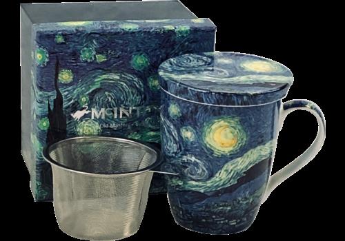 Van Gogh Starry Night Tea Mug with Infuser and Lid