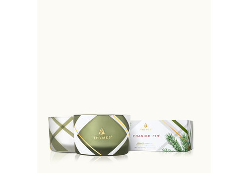 Thymes Frosted Plaid Poured Candle Set Frasier Fir