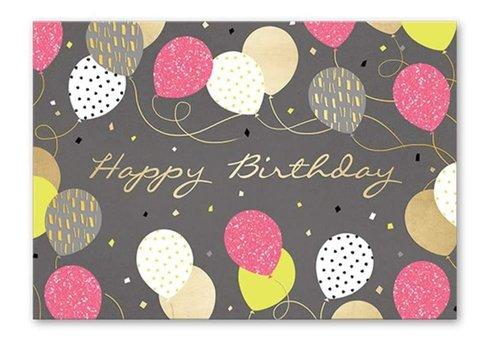 Greeting Card Gray Birthday Balloons