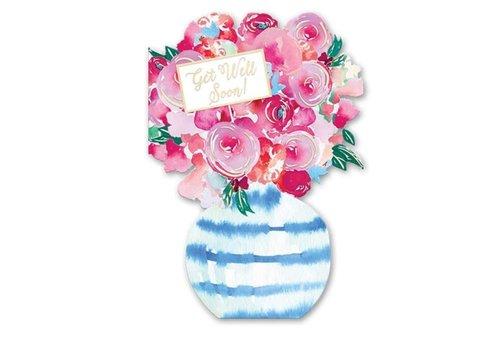 Greeting Card Floral Vase Get Well