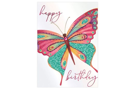 Greeting Card Happy Birthday Pink Teal Butterfly