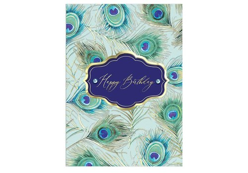 Greeting Card Happy Birthday Peacock Feather