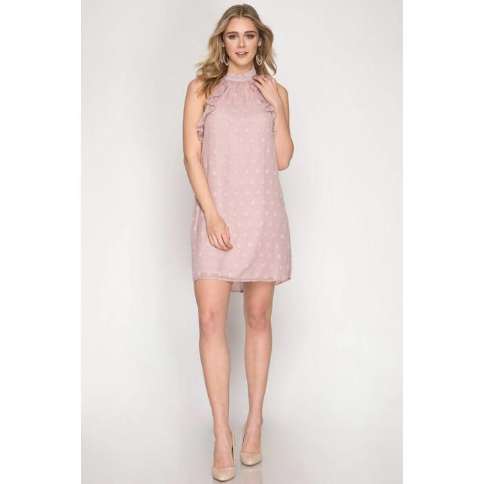 Polka Dot Textured Halter Dress