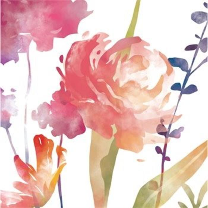 Boho Watercolor Floral Luncheon Napkin