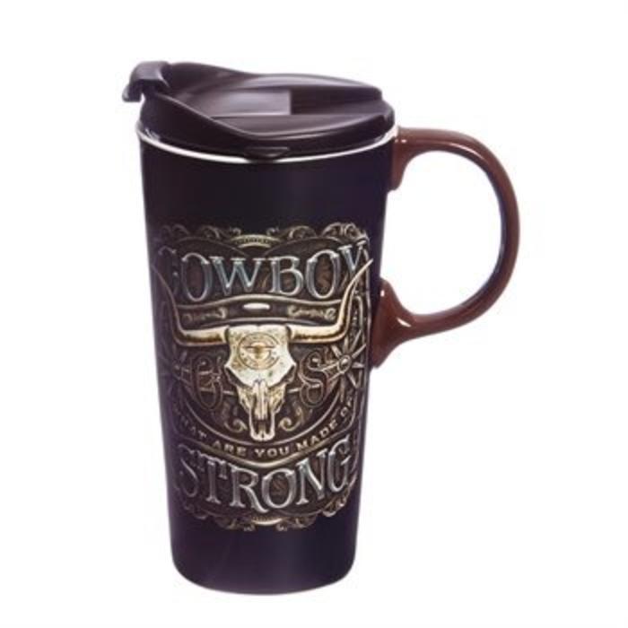 Ceramic Travel Cup Cowboy Strong 17oz