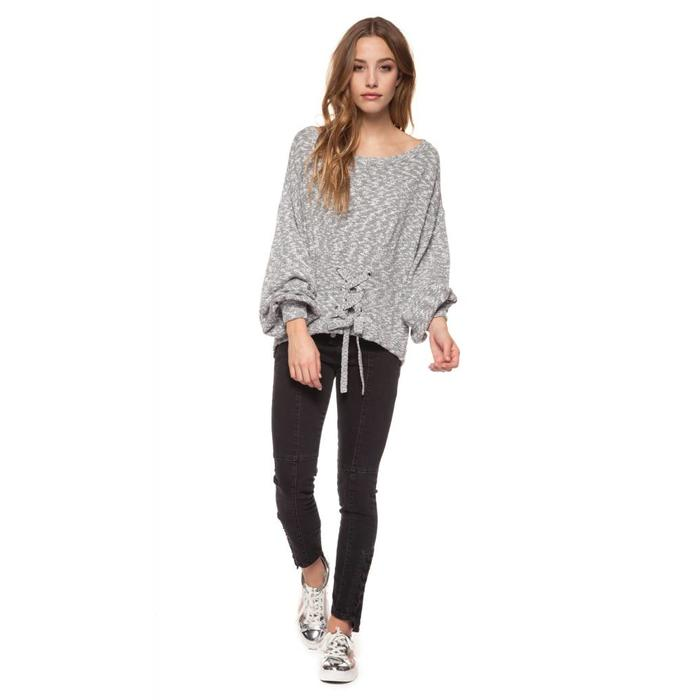 Scoop Neck Front Lace Up Sweater