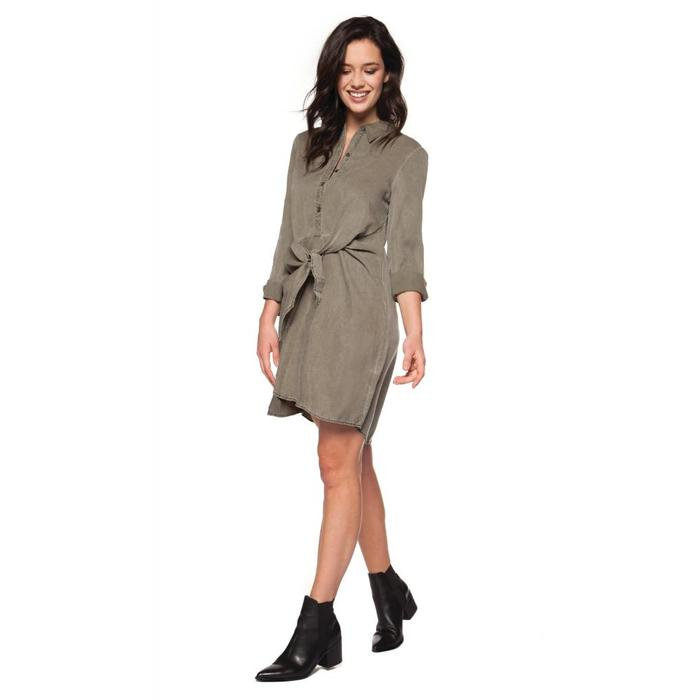 Shirt Dress With Knot Tie