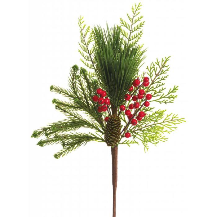 """Berry and Pine Cone Spray Red 18"""""""