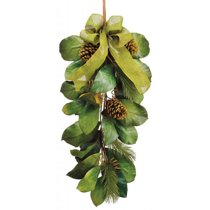 "Magnolia Leaf Pine Cone Door Swag 34"""