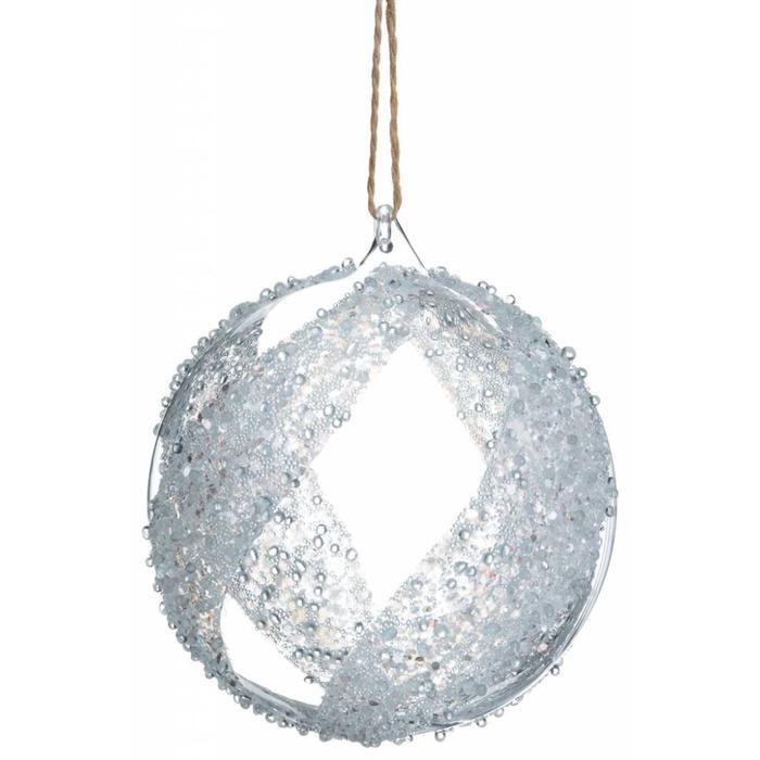 "Glittered Glass Ball Ornament 4.75"""