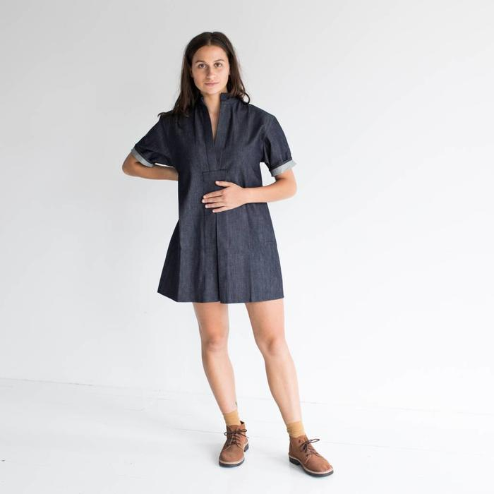 Sara Ruffin Costello Short Denim Smock Dress