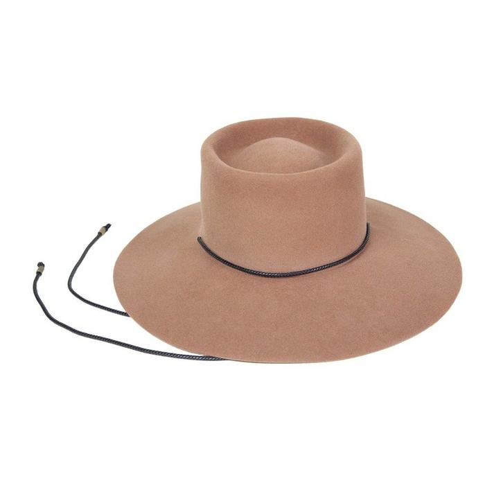 Clyde- Angora Gaucho Hat in Fawn Brown
