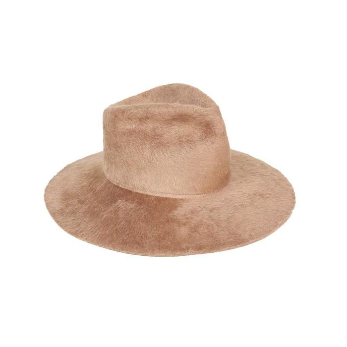 Clyde Wide Brim Long Haired Angora Pinch Hat