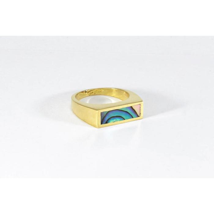 Legier Small Horizontal Brass Abalone Ring