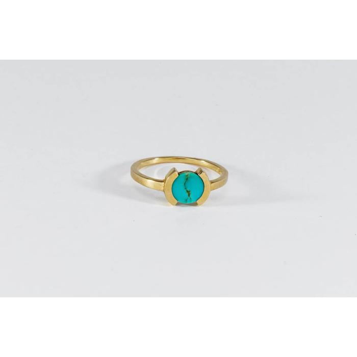Legier Tiny Broken Circle Ring in Turquoise and 10k