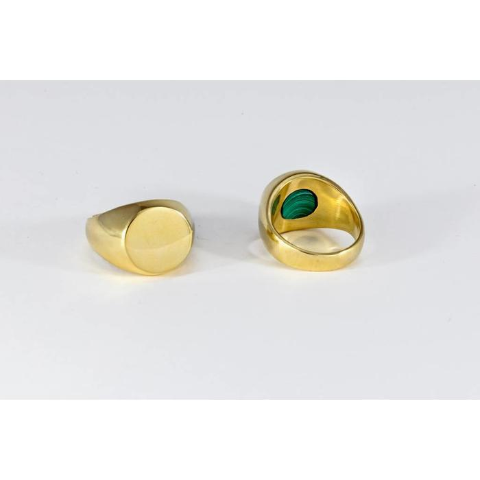 Legier Round Brass Ring with Secret Malachite